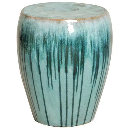 Turquoise Teal Drip Coastal Beach Simple Ceramic Garden Seat Stool | Kathy Kuo Home