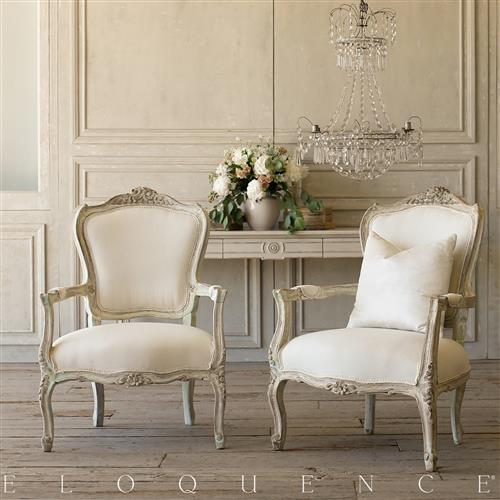 French Country Style Eloquence® Pair of Vintage Armchairs: 1940 | Kathy Kuo Home