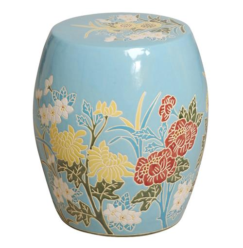 Turquoise Pink Ivory Flower Design Ceramic Garden Seat Stool | Kathy Kuo Home