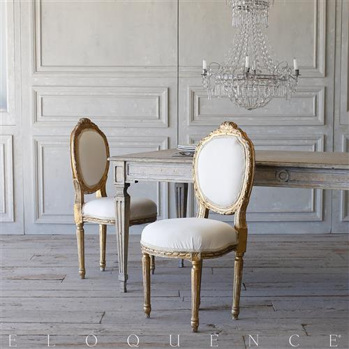 French Country Style Eloquence® Pair of Vintage Side Chairs: 1940 | Kathy Kuo Home