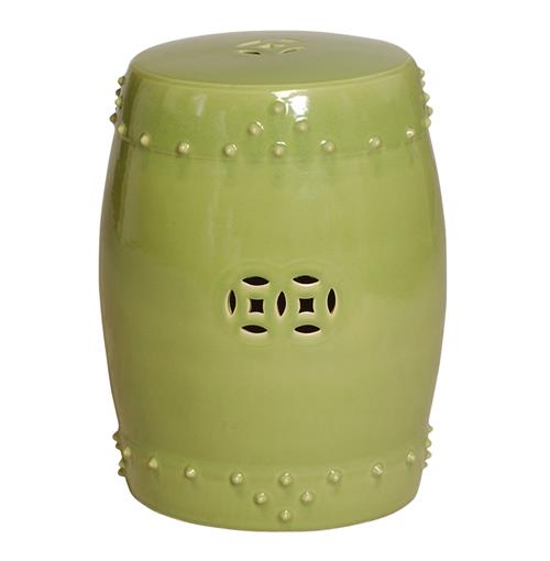 Classic Prosperity Light Green Ceramic Pierced Garden Seat Stool | Kathy Kuo Home