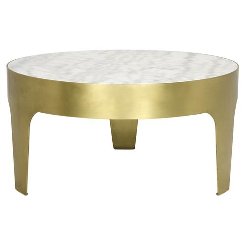 Terrene Hollywood Regency Antique Brass Quartz Round Coffee Table | Kathy Kuo Home