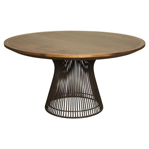 Cedrica Rustic Dark Walnut Metal Round Dining Table | Kathy Kuo Home