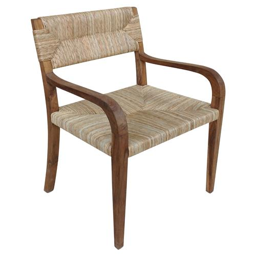Noir Bowie Rustic Teak Rush Arm Chair | Kathy Kuo Home