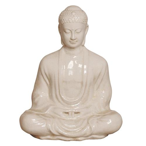Antique White Ceramic Meditating Buddha Lotus Seat Sculpture- 23 Inch | Kathy Kuo Home