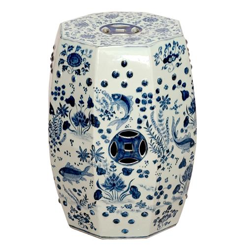 Octagon Blue and White Koi Fish Ceramic Garden Stool Seat | Kathy Kuo Home
