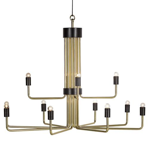 Nellcote Le Marais Mid Century 12 Light Brass Chandelier | Kathy Kuo Home