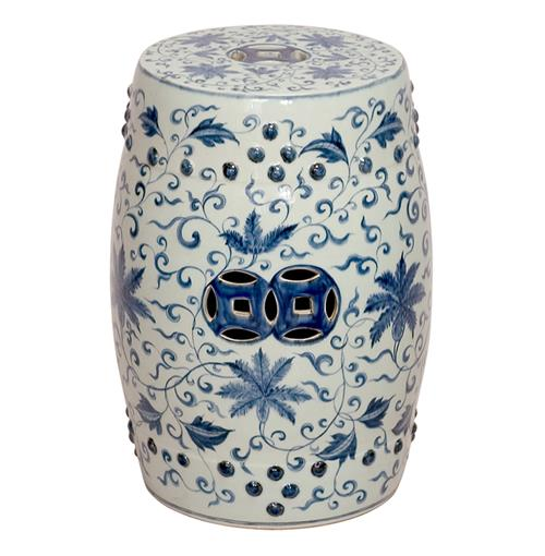 Round Blue And White Lotus Flowers Ceramic Garden Stool Seat Kathy Kuo Home