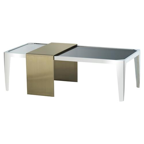 Kelly hoppen davinia modern classic white brushed brass for Modern nesting coffee tables