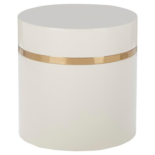 Kelly Hoppen Ella Modern Classic Round Snow White Lacquered Side Table | Kathy Kuo Home