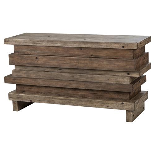 Resource Decor Stacked Rustic Weathered Wood Stacked Console Table | Kathy Kuo Home