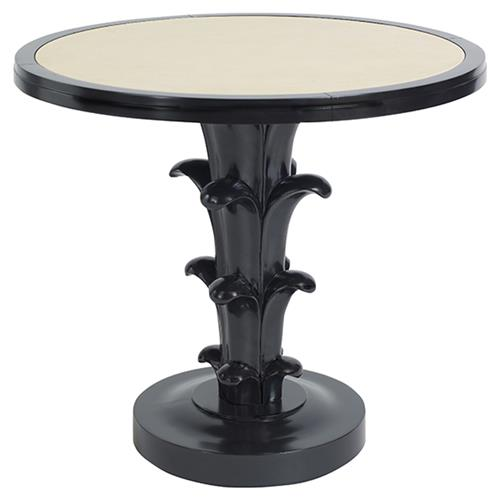 Aurelia Regency Black Lacquered Cream Top Round Side Table | Kathy Kuo Home