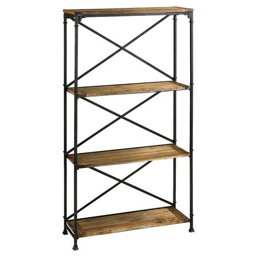 Cial Rustic Industrial Iron Wood Etagere | Kathy Kuo Home