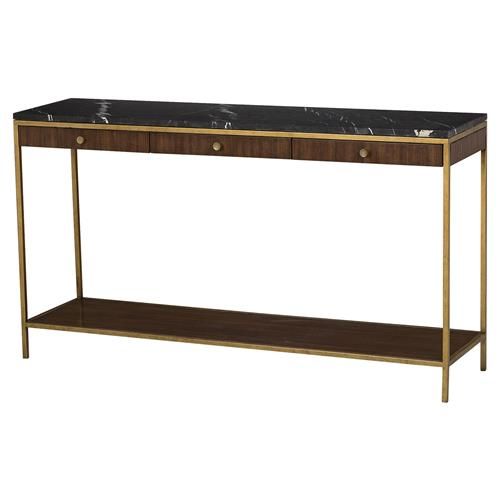 Maison 55 Copeland Mid Century Walnut Gold Trim Marble Top Console Table