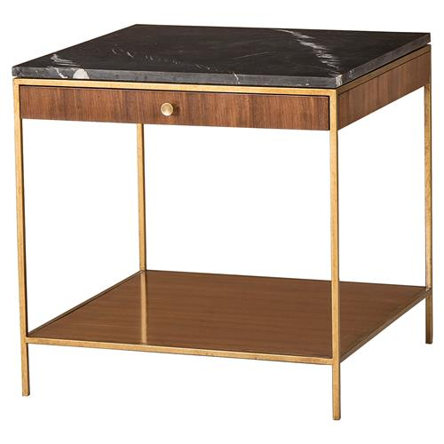 Maison 55 Mid Century Copeland Walnut Gold Trim Marble Top Large Square Side Table | Kathy Kuo Home