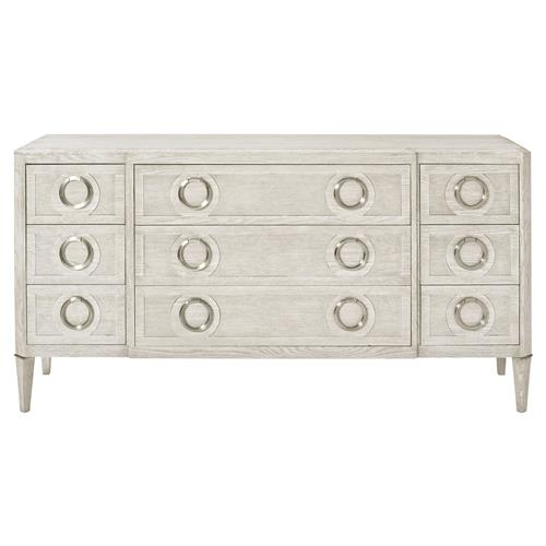 Hayley Hollywood Regency Dove White 9 Drawer Dresser | Kathy Kuo Home