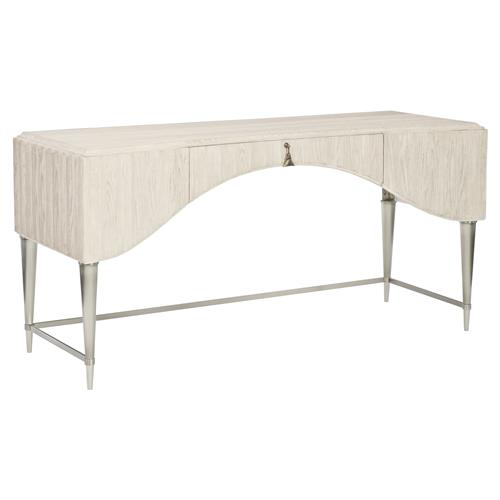 Hayley Hollywood Regency White Oak Scalloped Single Drawer Desk | Kathy Kuo Home