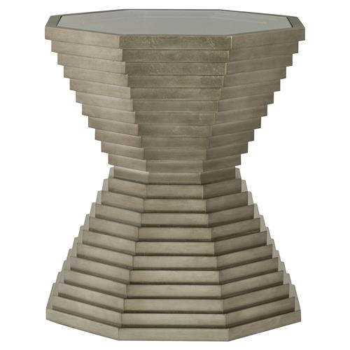 Gwyneth Modern Classic Glass Top Pedestal Side End Table | Kathy Kuo Home