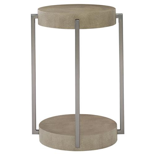 Gwyneth Modern Classic Shagreen Bronze Round Side End Table | Kathy Kuo Home
