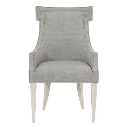Hayley Hollywood Regency Grey White Oak Upholstered Dining Arm Chair | Kathy Kuo Home