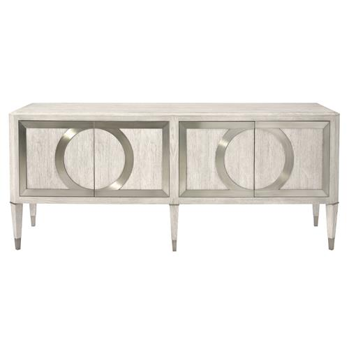 Hayley Hollywood Regency White Oak 4 Door Metal Overlay Sideboard | Kathy Kuo Home