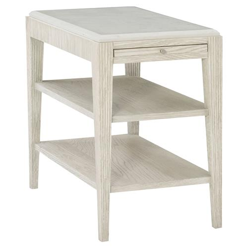 Hayley Hollywood Regency White Oak Quartz Top Single Shelf Side End Table | Kathy Kuo Home