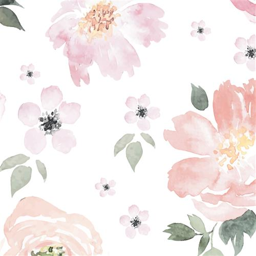 Anewall Pretty In Pink Modern Classic Pastel Floral Removable Wallpaper | Kathy Kuo Home