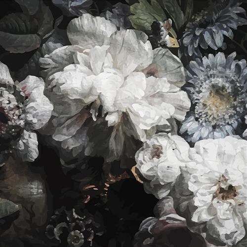 Peony Modern Classic Dark Floral Wallpaper | Kathy Kuo Home