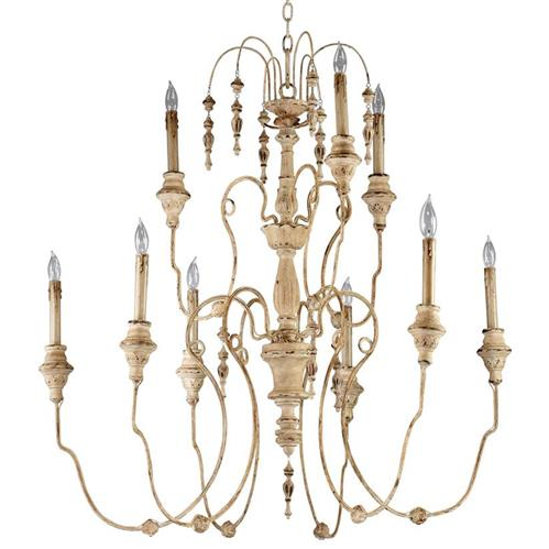 Maison French Country Antique White 9 Light Chandelier | Kathy Kuo Home