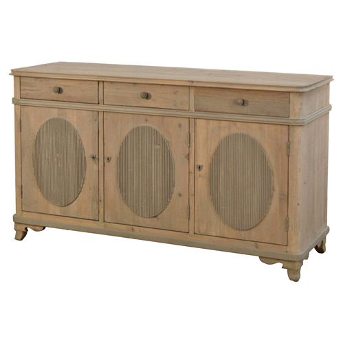 Adele French Country Reclaimed Pine 3 Door Sideboard | Kathy Kuo Home