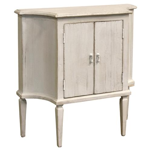 Melany French Country Single Shelf Pine White Cabinet | Kathy Kuo Home