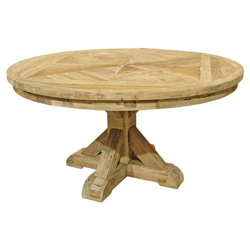 French Country Round Dining Table: Dijon French Country Natural Elm Round Pedestal Dining Table