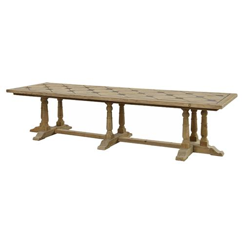 Emmanuelle French Country Reclaimed Pine Rectangular Dining Table - Large | Kathy Kuo Home