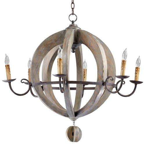 French Country Round Barrel Carved Wood Limed Oak 6 Light Chandelier | Kathy Kuo Home