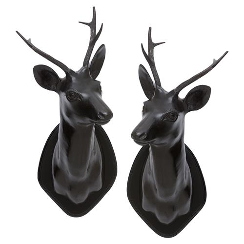 Eichholtz Stag Head Modern Classic Antique Bronze Wall Mounted Sculpture - Set of 2 | Kathy Kuo Home