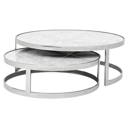 Marble Ayva Nesting Coffee Tables Set Of 2: Eichholtz Fletcher Modern Classic White Marble Top Round