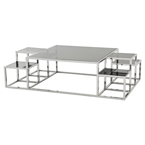 Modern Square Coffee Table With Glass Top: Eichholtz Ginger Modern Classic Smoked Glass Top Multi