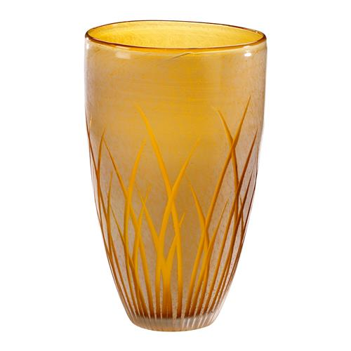Large Aquarius Orange Frosted Glass Grass Silhouette Modern Vase | Kathy Kuo Home