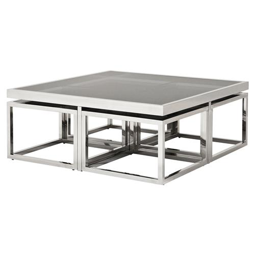 Glass And Silver Square Coffee Table: Eichholtz Monogram Modern Classic Smoked Glass Square