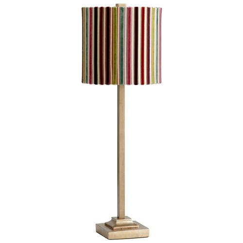 Santa Cruz Colored Candy Stripe Velvet Ribbon Light Gold Lamp | Kathy Kuo Home