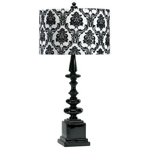 Dario Neo Noir Gloss Black  White Damask Contemporary Table Lamp | Kathy Kuo Home