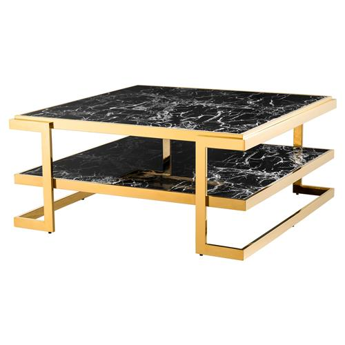 Eichholtz Senato Hollywood Regency Black Faux Marble Gold Tiered Coffee Table | Kathy Kuo Home