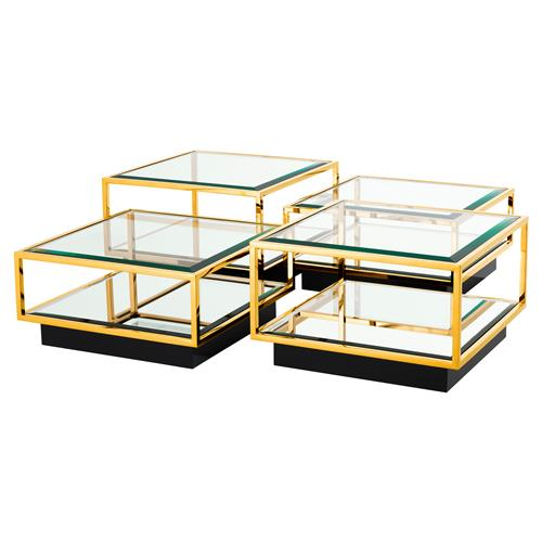 Eichholtz Tortona Hollywood Regency Gold Beveled Glass Top Multi Level Square Coffee Table - Set of 4 | Kathy Kuo Home
