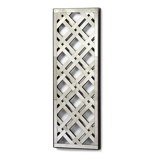 Long rectangle lattice trellis antique mirror ebay for Long antique mirror
