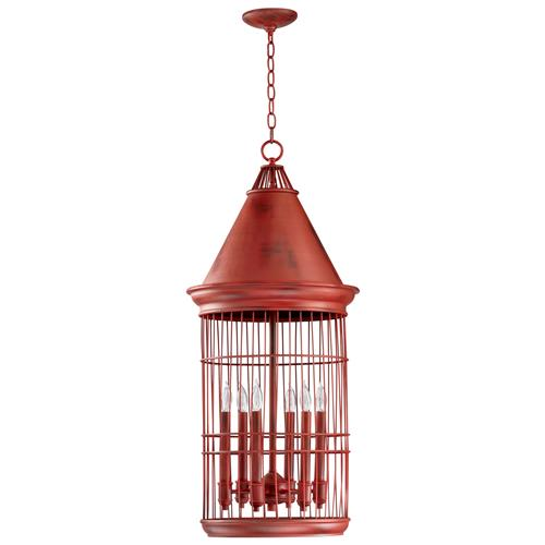 Conical Red Bird Cage 6 Light Entryway Chandelier | Kathy Kuo Home