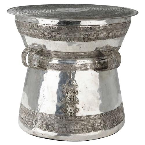 Eichholtz Thai Global Bazaar Antique Silver Drum Side End Table | Kathy Kuo Home