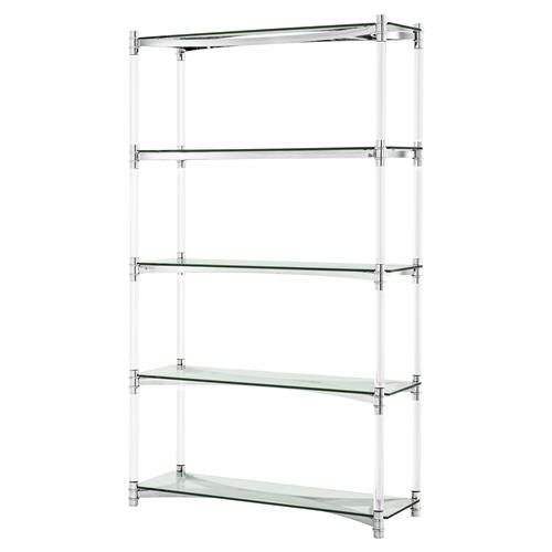 Eichholtz Trento Modern Classic Clear Acrylic 5 Shelf Display Bookcase | Kathy Kuo Home