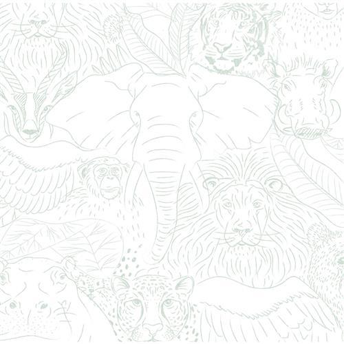 Anewall Animal Kingdom Modern Classic Teal Sketched
