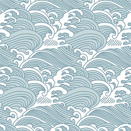 Anewall Bombora Modern Classic Vintage Hawaiian Waves Wallpaper | Kathy Kuo Home