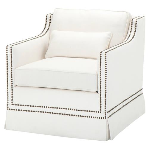 Eichholtz Frazer Modern White Herringbone Linen Nailhead Trim Accent Club Chair | Kathy Kuo Home